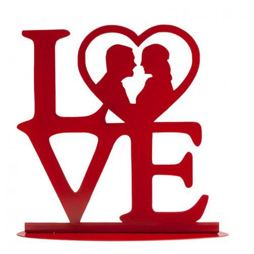 BODA METAL LOVE ROJO 19 X 19 CM